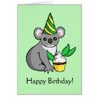 Cute Koala with Cake Drawing Happy Birthday Card