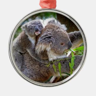Cute Koalas Silver-Colored Round Decoration