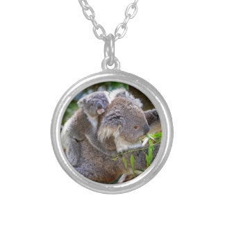Cute Koalas Silver Plated Necklace