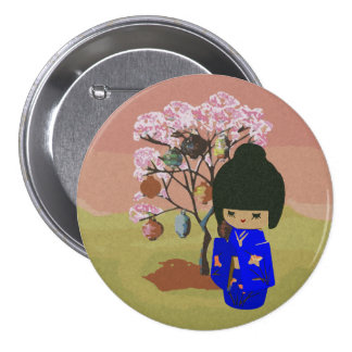 Cute kokeshi Doll with cherry blossom tree 7.5 Cm Round Badge