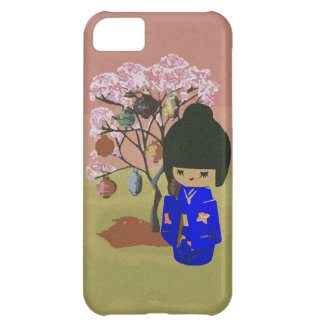 Cute kokeshi Doll with cherry blossom tree iPhone 5C Case