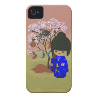 Cute kokeshi Doll with cherry blossom tree Case-Mate iPhone 4 Case