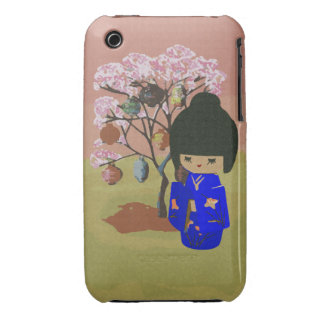 Cute kokeshi Doll with cherry blossom tree iPhone 3 Cover