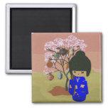 Cute kokeshi Doll with cherry blossom tree Fridge Magnets