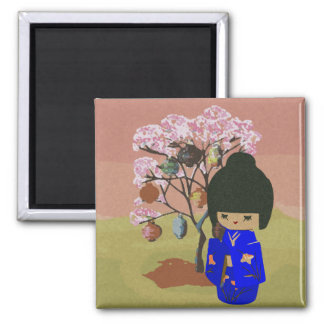 Cute kokeshi Doll with cherry blossom tree Square Magnet