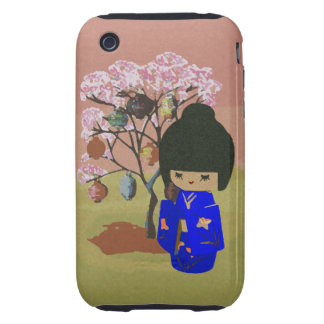 Cute kokeshi Doll with cherry blossom tree Tough iPhone 3 Cover