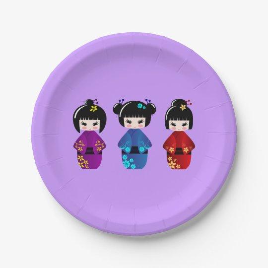 Cute kokeshi dolls cartoon girls paper plate