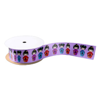 Cute kokeshi dolls cartoon girls satin ribbon