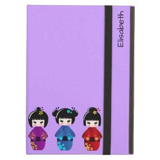 Cute kokeshi dolls cartoon name iPad air cases