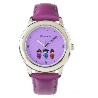 Cute kokeshi dolls cartoon name purple wrist watch