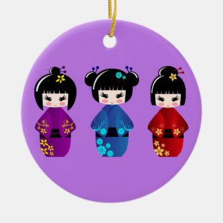 Cute kokeshi dolls cartoon purple christmas ornament