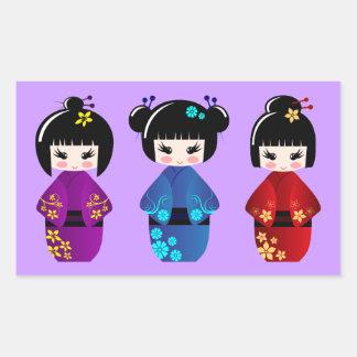 Cute kokeshi dolls cartoon rectangular sticker