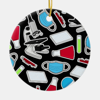 Cute Lab Pattern Black Background Christmas Ornament