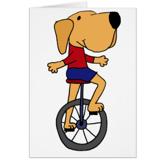 Cute Labrador Dog Riding Unicycle Cartoon Greeting Cards