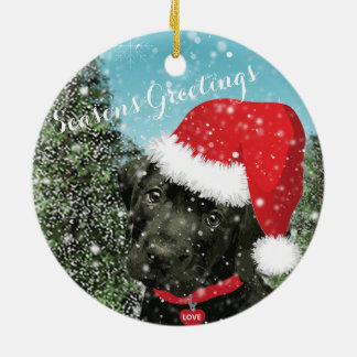Cute Labrador Puppy Santa Hat Season's Greetings Christmas Ornament