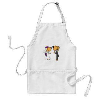 Cute Labrador Retriever Bride and Groom Standard Apron
