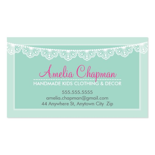 CUTE LACE BUNTING stylish elegant soft mint green Business Card Templates