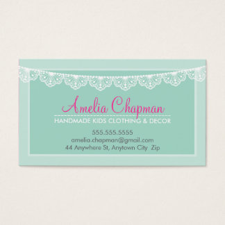 CUTE LACE BUNTING stylish elegant soft mint green Business Card