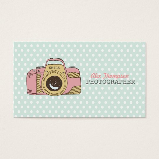 Cute Ladies DSLR Camera Photography Business Cards