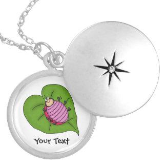 Cute  Lady Bug On Leaf Locket Necklace