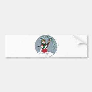 Cute Lady Snowman Round Design Bumper Sticker
