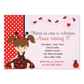 Cute Ladybird Ladybug girl design 13 Cm X 18 Cm Invitation Card