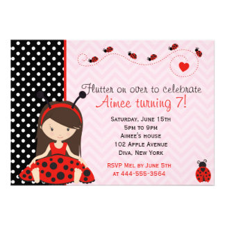 Cute Ladybird Ladybug girl design Custom Invitations