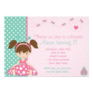 Cute Ladybird Ladybug girl design Custom Invites