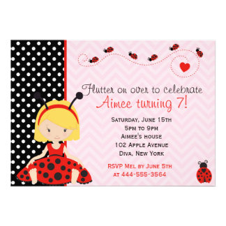 Cute Ladybird Ladybug girl design Custom Invitation