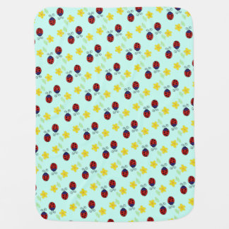 Cute ladybirds and yellow daisies on aqua blue baby blanket