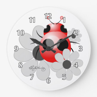 Cute ladybug and black and white Daisies Large Clock
