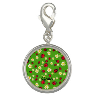 cute ladybug and daisy flower pattern green