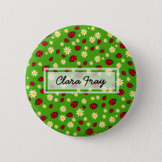 cute ladybug and daisy flower pattern green 6 cm round badge