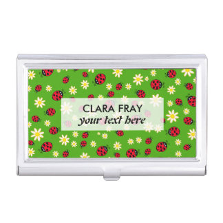 cute ladybug and daisy flower pattern green business card holder