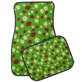 cute ladybug and daisy flower pattern green car mat