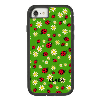 cute ladybug and daisy flower pattern green Case-Mate tough extreme iPhone 8/7 case