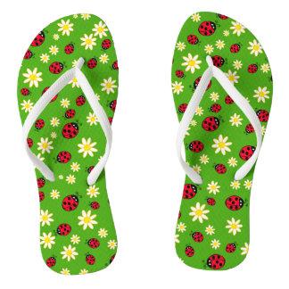 cute ladybug and daisy flower pattern green flip flops