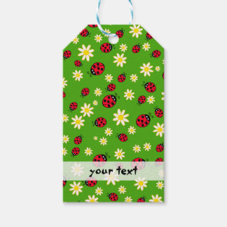 cute ladybug and daisy flower pattern green gift tags