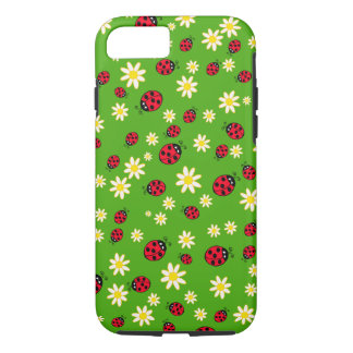 cute ladybug and daisy flower pattern green iPhone 8/7 case