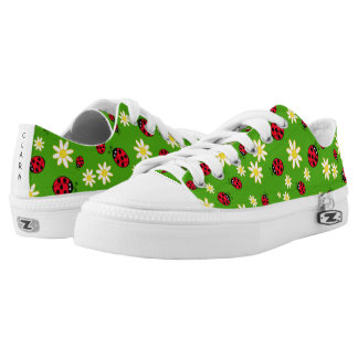 cute ladybug and daisy flower pattern green low tops