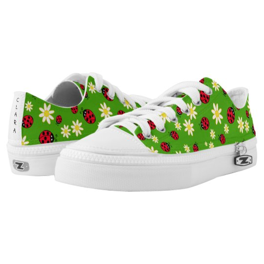 cute ladybug and daisy flower pattern green low