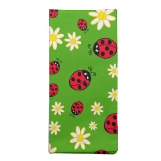 cute ladybug and daisy flower pattern green napkin