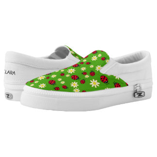 cute ladybug and daisy flower pattern green Slip-On shoes