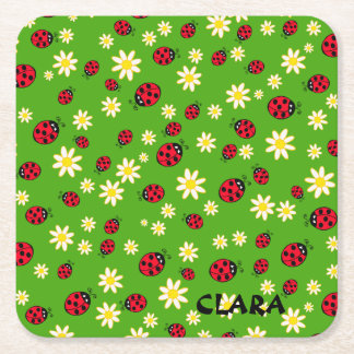 cute ladybug and daisy flower pattern green square paper coaster