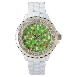 cute ladybug and daisy flower pattern green watch