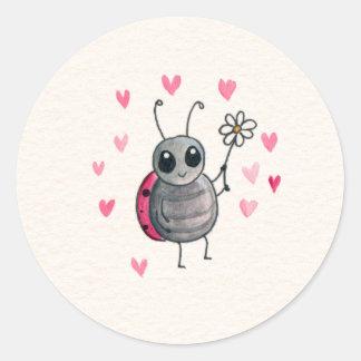Cute Ladybug and Daisy Round Sticker