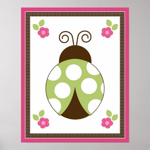 Cute Ladybug and Flowers Nursery Art Poster