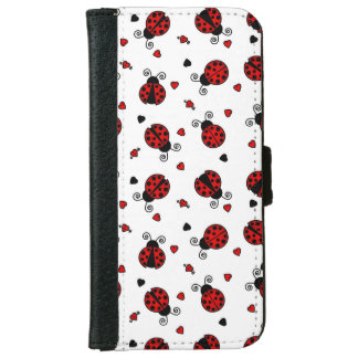 Cute Ladybug and Hearts Pattern iPhone 6 Wallet Case
