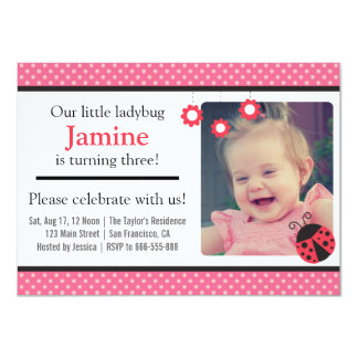 Cute Ladybug and polka dots birthday party 11 Cm X 16 Cm Invitation Card