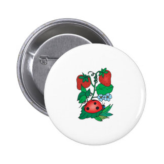 cute ladybug and strawberries 6 cm round badge